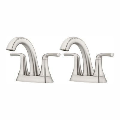 Ladera 4 in. Centerset 2-Handle Bathroom Faucet in Spot Defense Brushed Nickel(2-Pack)