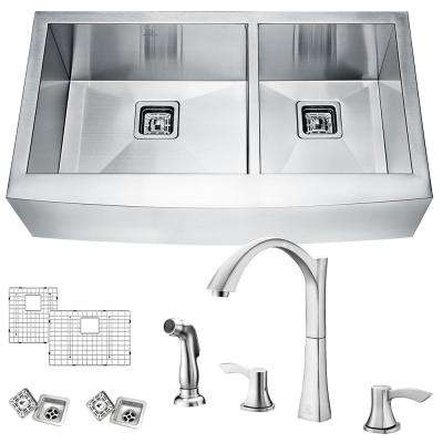 Elysian Farmhouse Stainless Steel 33 in. 60/40 Double Bowl Kitchen Sink with Faucet in Brushed Nickel