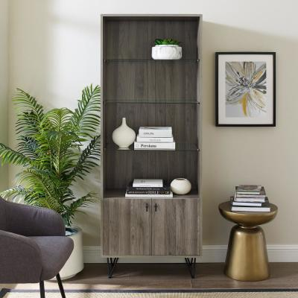 68 in. Slate Grey Mid-Century Modern Storage Cabinet
