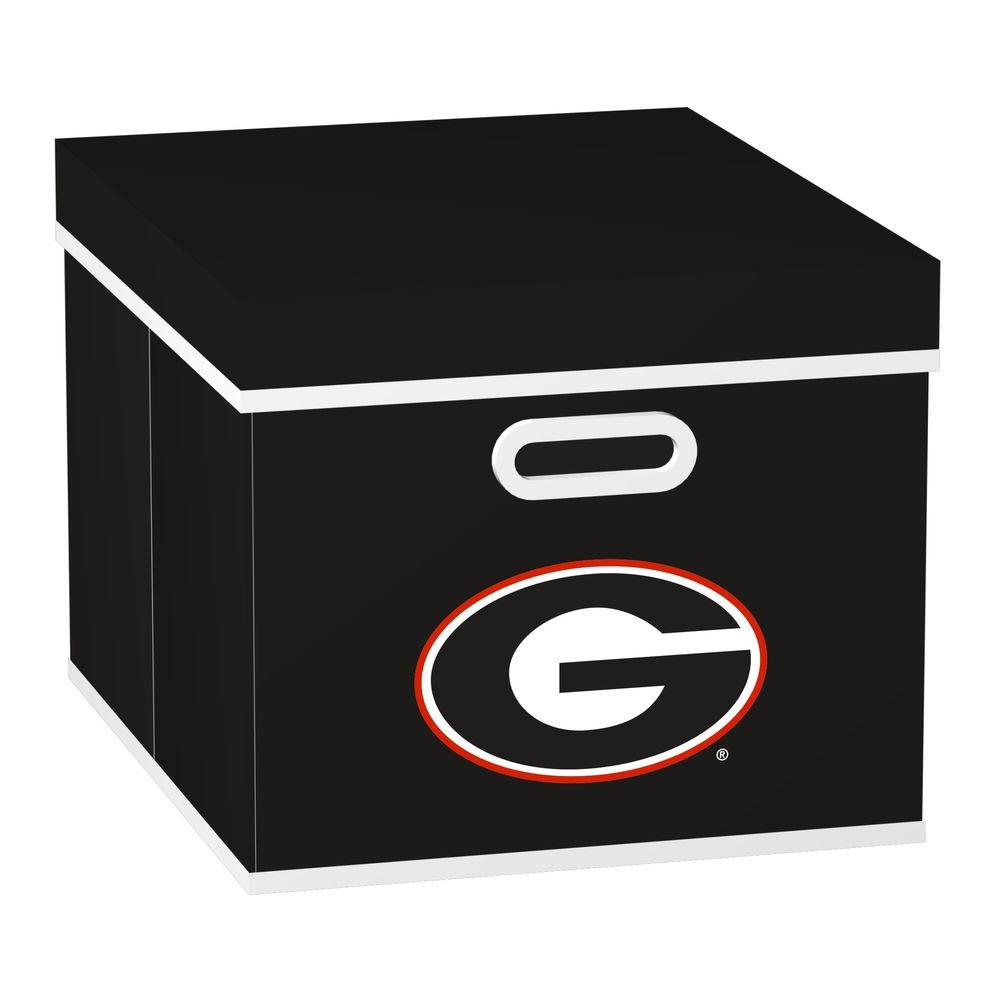 MyOwnersBox College STACKITS University of Georgia 12 in. x 10 in. x 15 in. Stackable Black Fabric Storage Cube