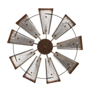 22.05 in. D Farmhouse Metal Galvanized Wind Spinner Wall Dcor