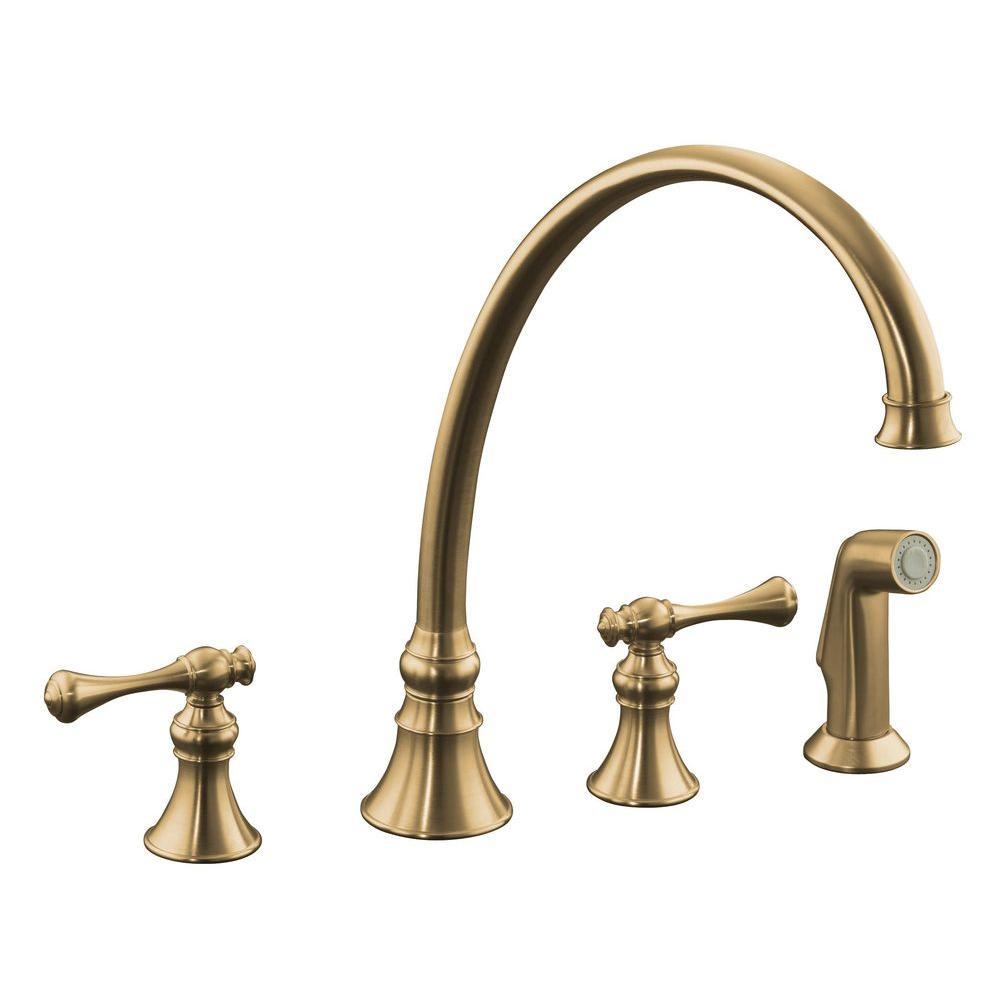 KOHLER Revival 2-Handle Standard Kitchen Faucet in Vibrant Brushed Bronze