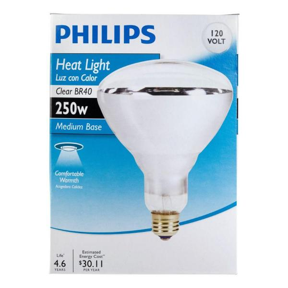 Philips 250 Watt 120 Volt Br40 Incandescent Heat Lamp Light Bulb 416743 The Home Depot