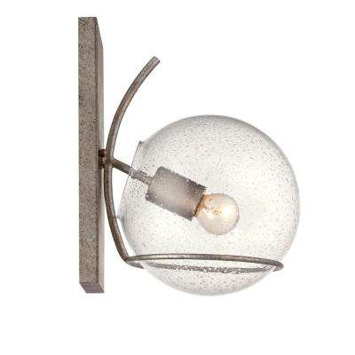 Watson 1-Light Silver Age Sconce with Recycled Clear Seedy Glass