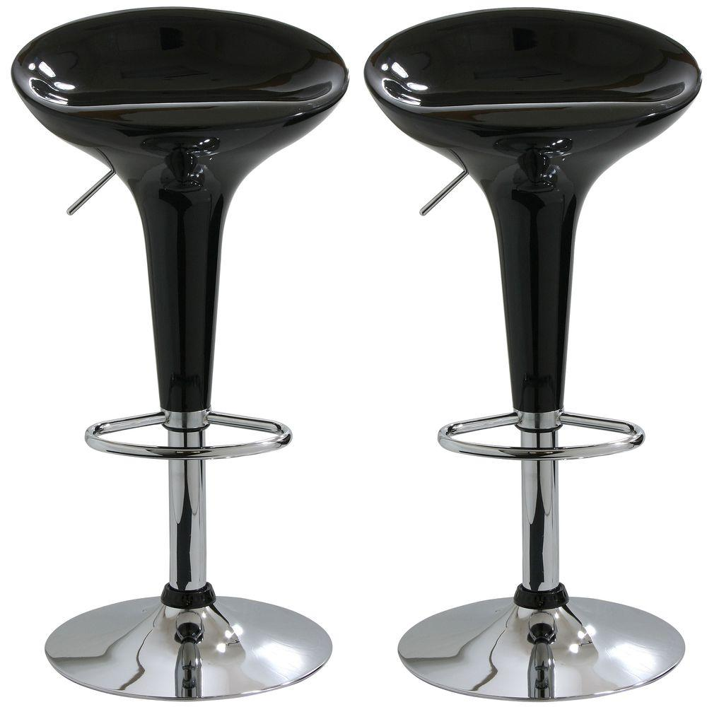 Wondrous Adjustable Height Black Bar Stool Set Of 2 Machost Co Dining Chair Design Ideas Machostcouk