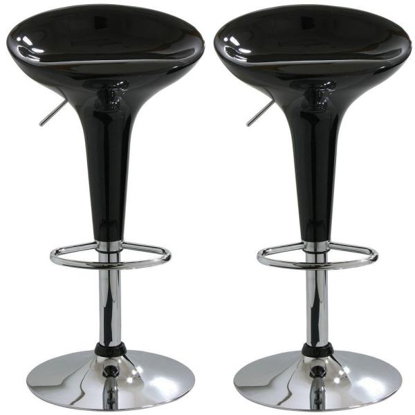 Pleasing Adjustable Height Black Bar Stool Set Of 2 Gmtry Best Dining Table And Chair Ideas Images Gmtryco