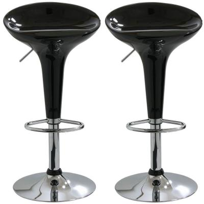 Adjustable Height Black Bar Stool (Set of 2)