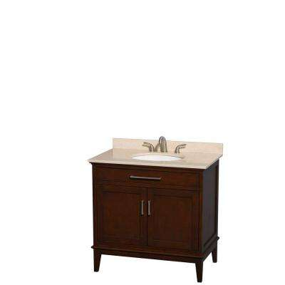Hatton 36 in. Vanity in Dark Chestnut with Marble Vanity Top in Ivory and Oval Sink