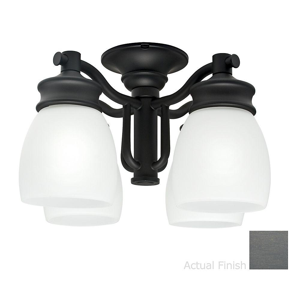 Casablanca 4-Light Bullion Black Ceiling Fan Integrated White Glass Wet Rated Fixture-DISCONTINUED