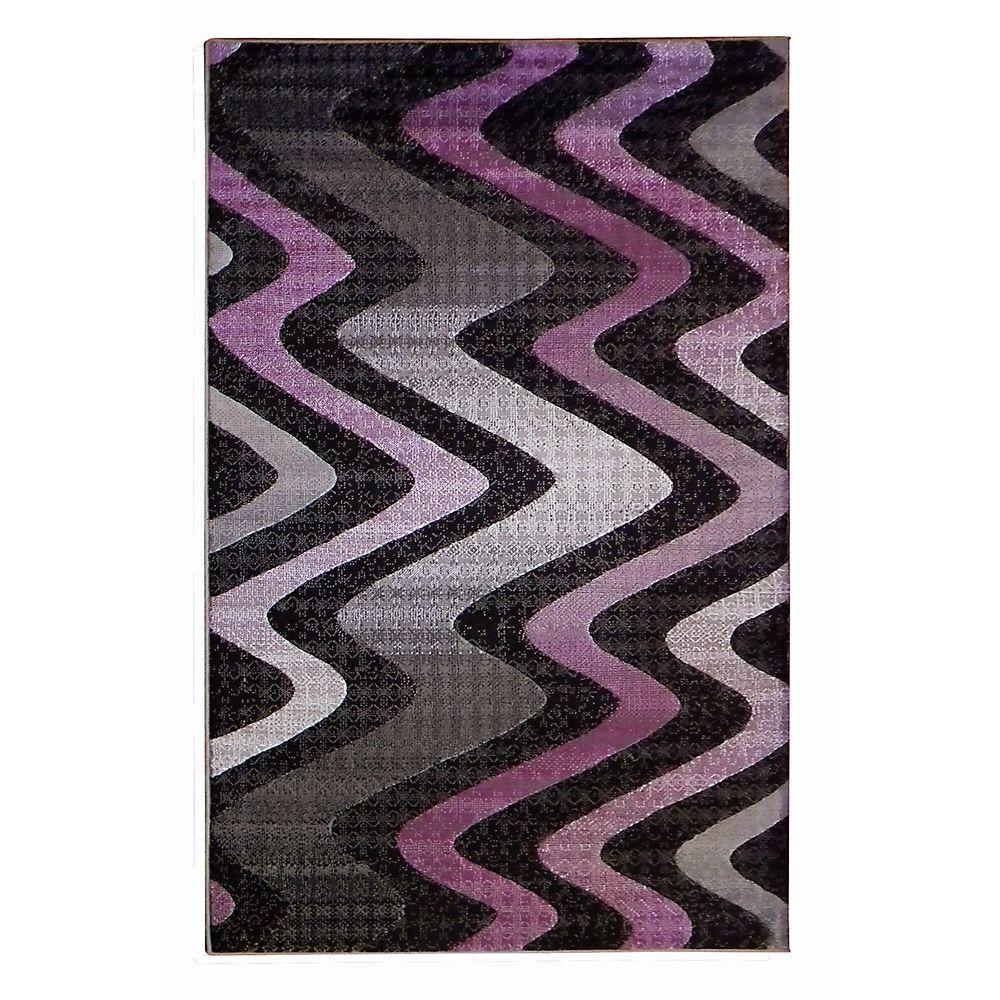 Donnieann Trendz Tritone Gray Wavy Design 5 Ft X 7 Ft