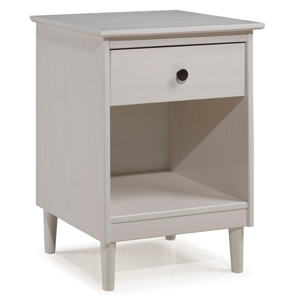 Walker Edison Furniture Company Classic Mid Century Modern 1 Drawer White Solid Wood Nightstand Side