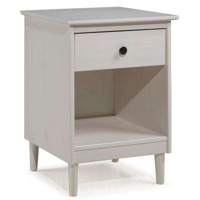 Classic Mid Century Modern 1-Drawer White Solid Wood Nightstand Side Table
