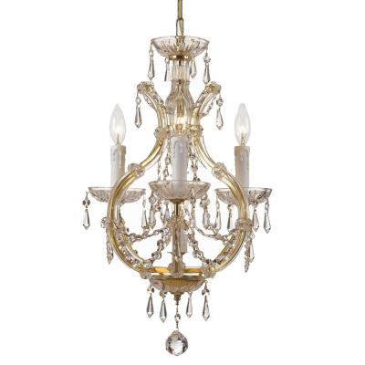 Maria Theresa 4-Light Clear Crystal Gold Mini Chandelier I