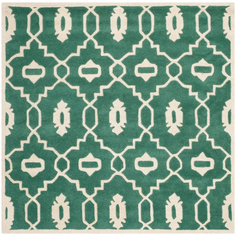 Safavieh Chatham Teal/Ivory (Blue/Ivory) 5 ft. x 5 ft. Sq...