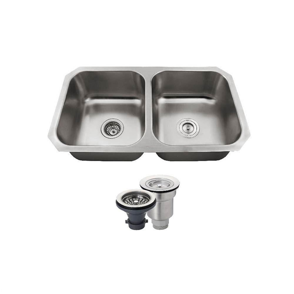 All-in-One Undermount Stainless Steel 32 in. Double Bowl Kitchen Sink