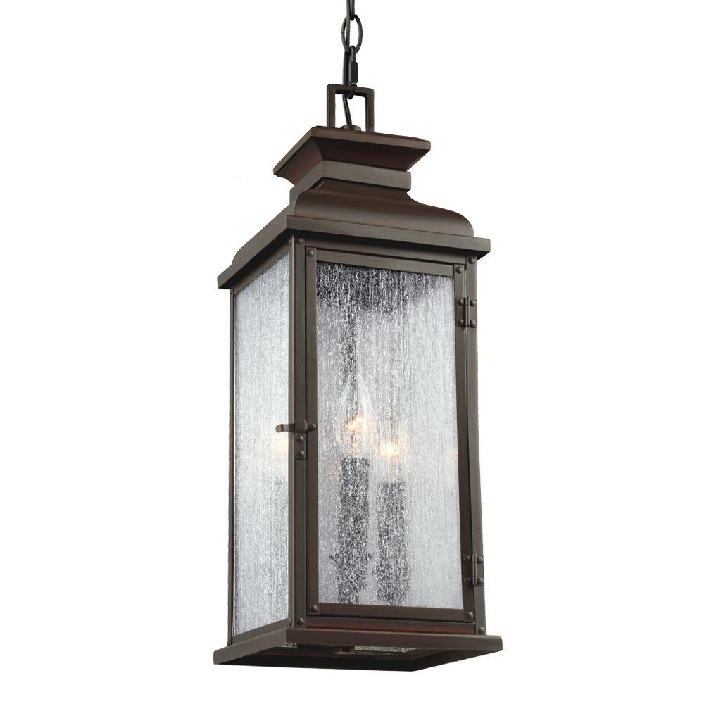 Feiss Pediment 2-Light Dark Aged Copper Outdoor Pendant