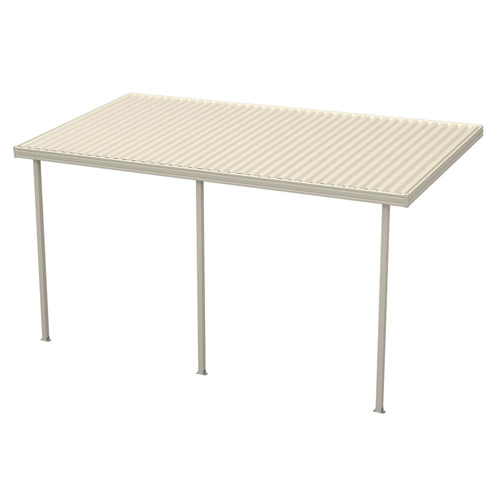 12 ft. x 10 ft. Ivory Aluminum Attached Solid Patio Cover...