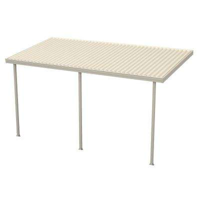 16 ft. x 10 ft. Ivory Aluminum Attached Solid Patio Cover with 3 Posts (10 lbs. Live Load)