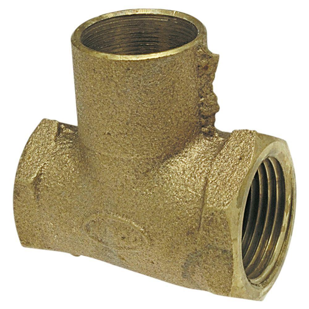 3/4 in. x 1/2 in. x 3/4 in. Lead-Free Bronze Silicon Alloy Pressure F x F x C Tee