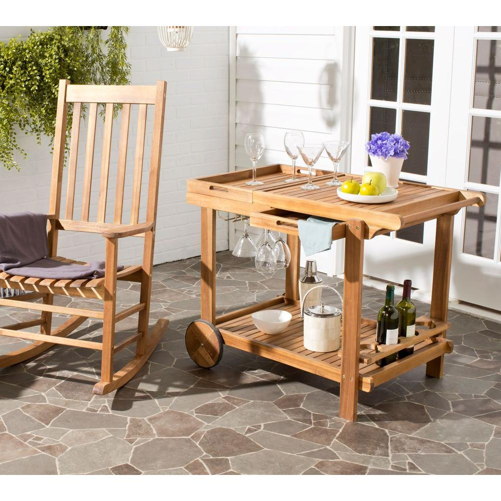 Orland Teak Serving Cart with Wine Glass Storage