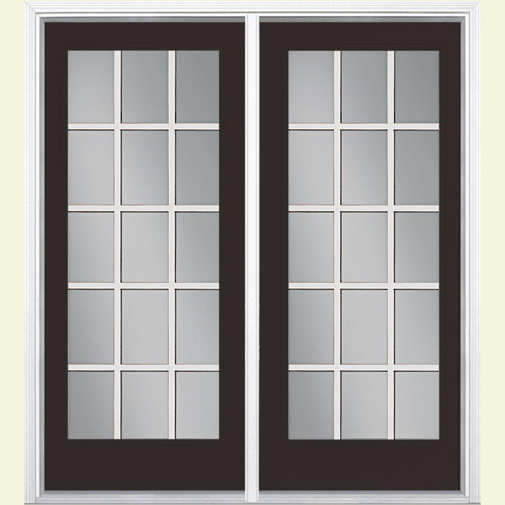 72 in. x 80 in. Willow Wood Prehung Right-Hand Inswing 15 Lite Steel Patio Door with Brickmold