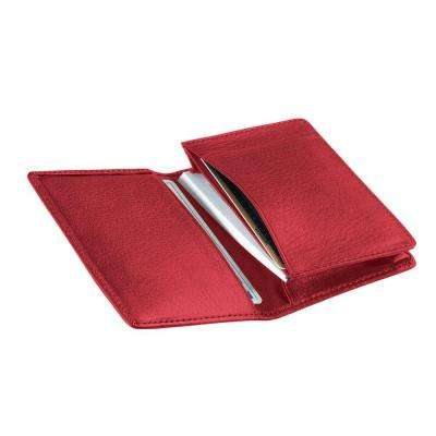 Red Executive Business Card Case Wallet, Genuine Leather