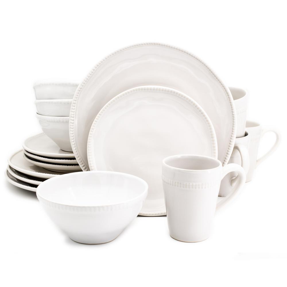 Algarve 16-Piece White Dinnerware Set