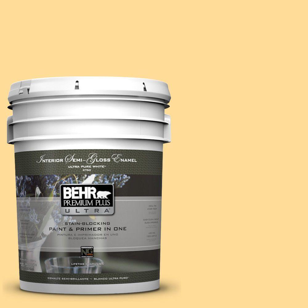 BEHR Premium Plus Ultra 5-gal. #350B-5 Straw Hat Semi-Gloss Enamel Interior Paint