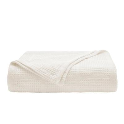 Waffle Grid Cotton White 1-Piece Full/Queen Blanket