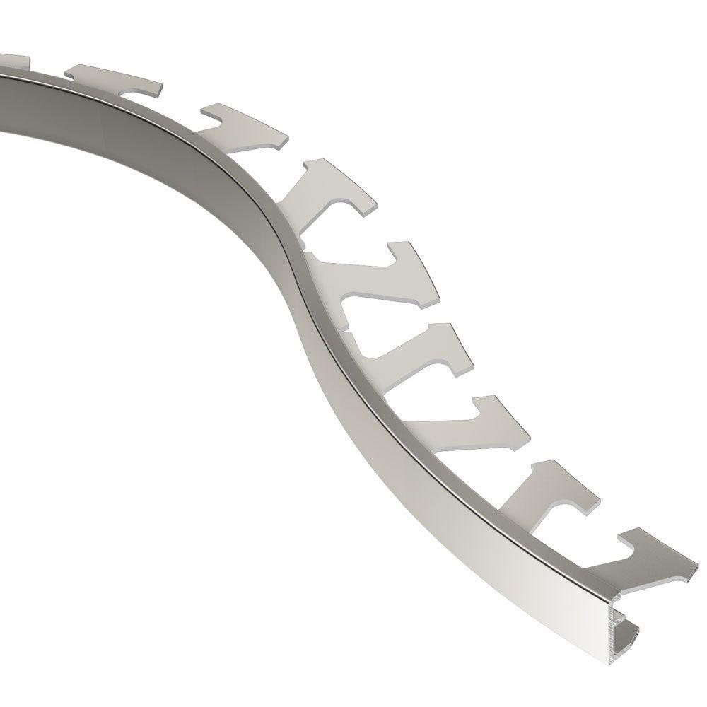 Schluter Schiene Bright Nickel Anodized Aluminum 1/2 in. x 8 ft. 2-1/2 in. Metal Radius Tile Edging Trim