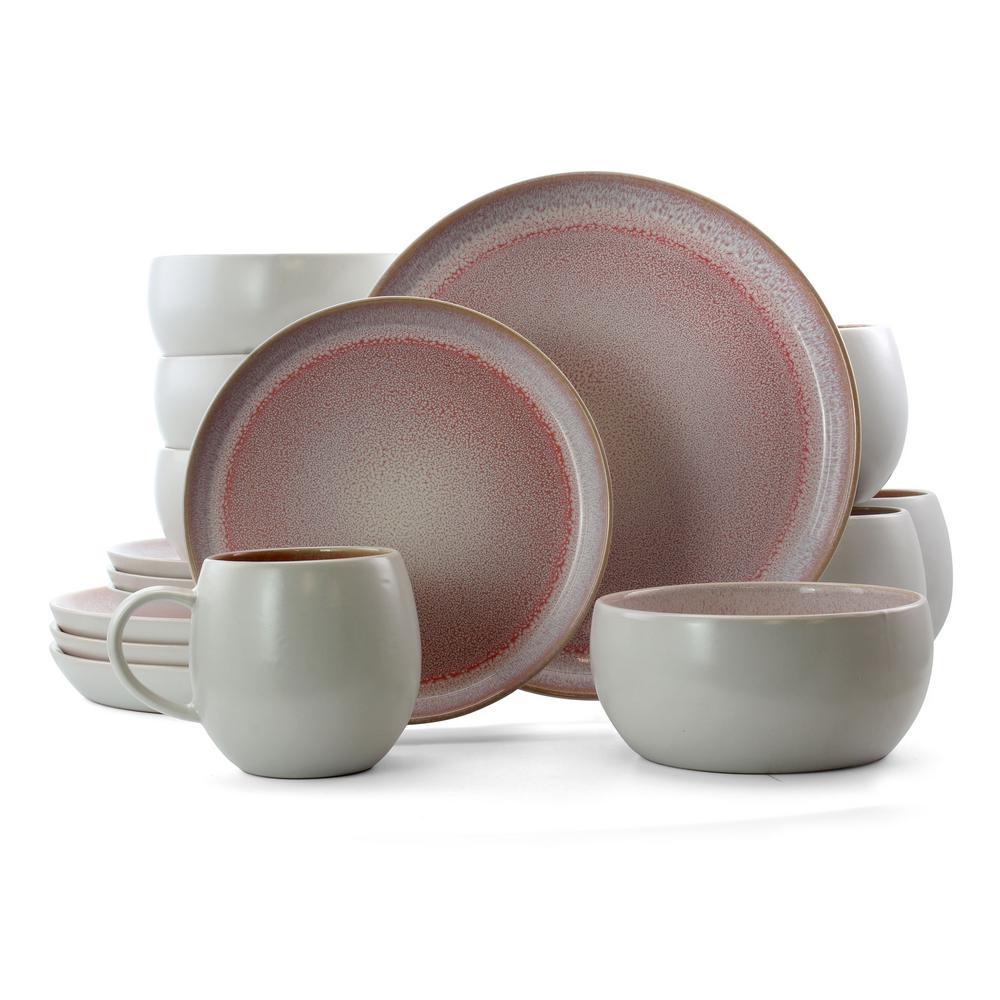 Mocha Mauve 16-Piece Pink Stoneware Dinnerware Set (Service for 4)