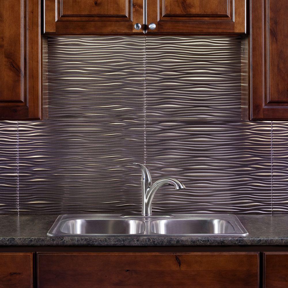 24 in. x 18 in. Waves PVC Decorative Tile Backsplash in Brushed Nickel