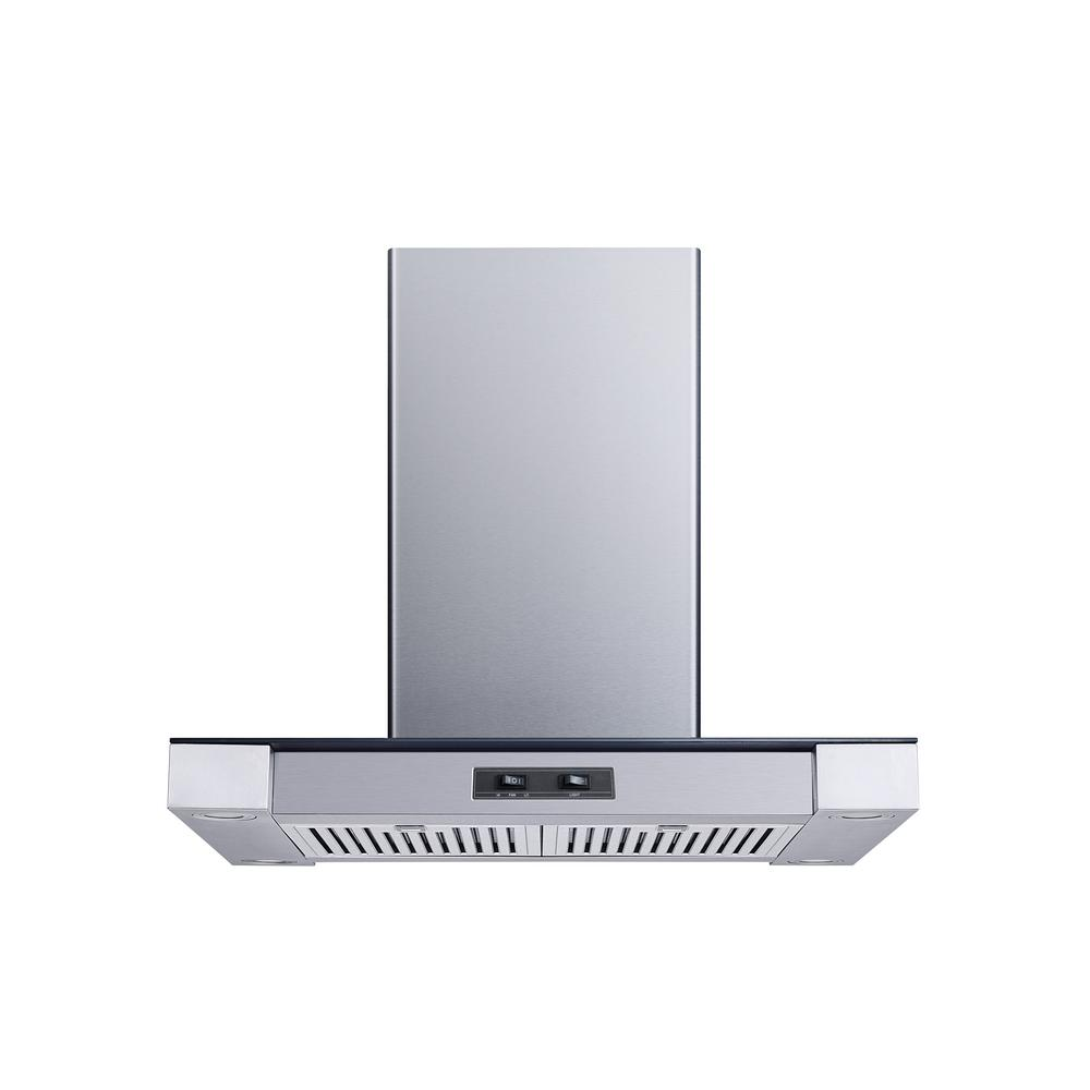 30 400 CFM Convertible Island Mount Range Hood with Stainless Steel Baffle Filters and 4 Ultra bright Soft White LED Lights