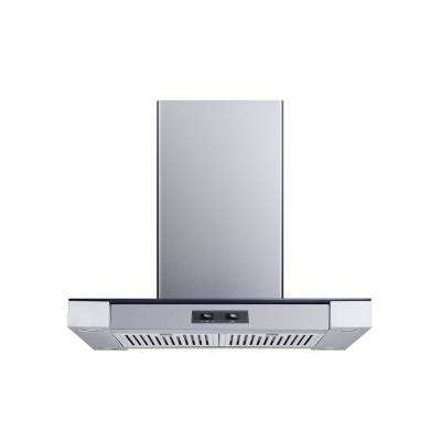 30 in. Convertible Island Mount Range Hood in Stainless Steel and Glass with Stainless Steel Baffle Filters