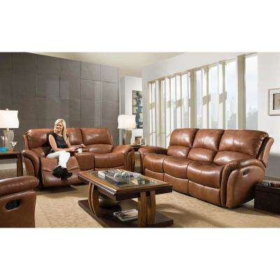 Old Gold Appalachia Leather Double Reclining Loveseat