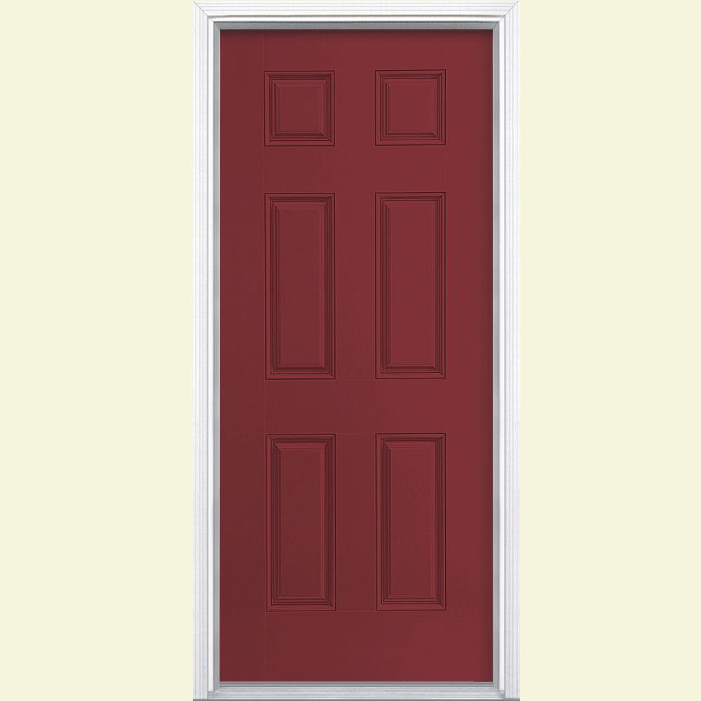 Masonite 32 in. x 80 in. 6-Panel Red Bluff Left Hand Inswing Painted Smooth Fiberglass Prehung Front Door with Brickmold