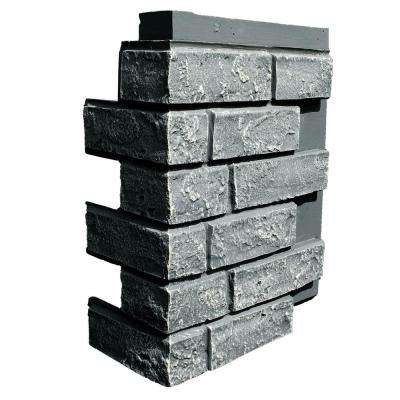 Brick Antique Gray 15.25 in. x 12 in. Faux Polyurethane Stone Siding Corner (4-Pack)