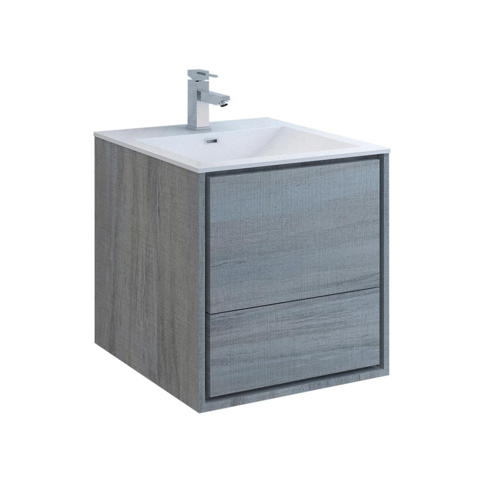Fresca Catania 24 in. Modern Wall Hung Bath Vanity in Ocean Gray with Vanity Top in White with White Basin