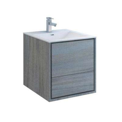Catania 24 in. Modern Wall Hung Bath Vanity in Ocean Gray with Vanity Top in White with White Basin