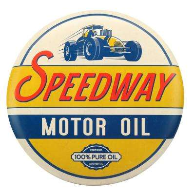 Motor Oil Tin Button Decorative Sign