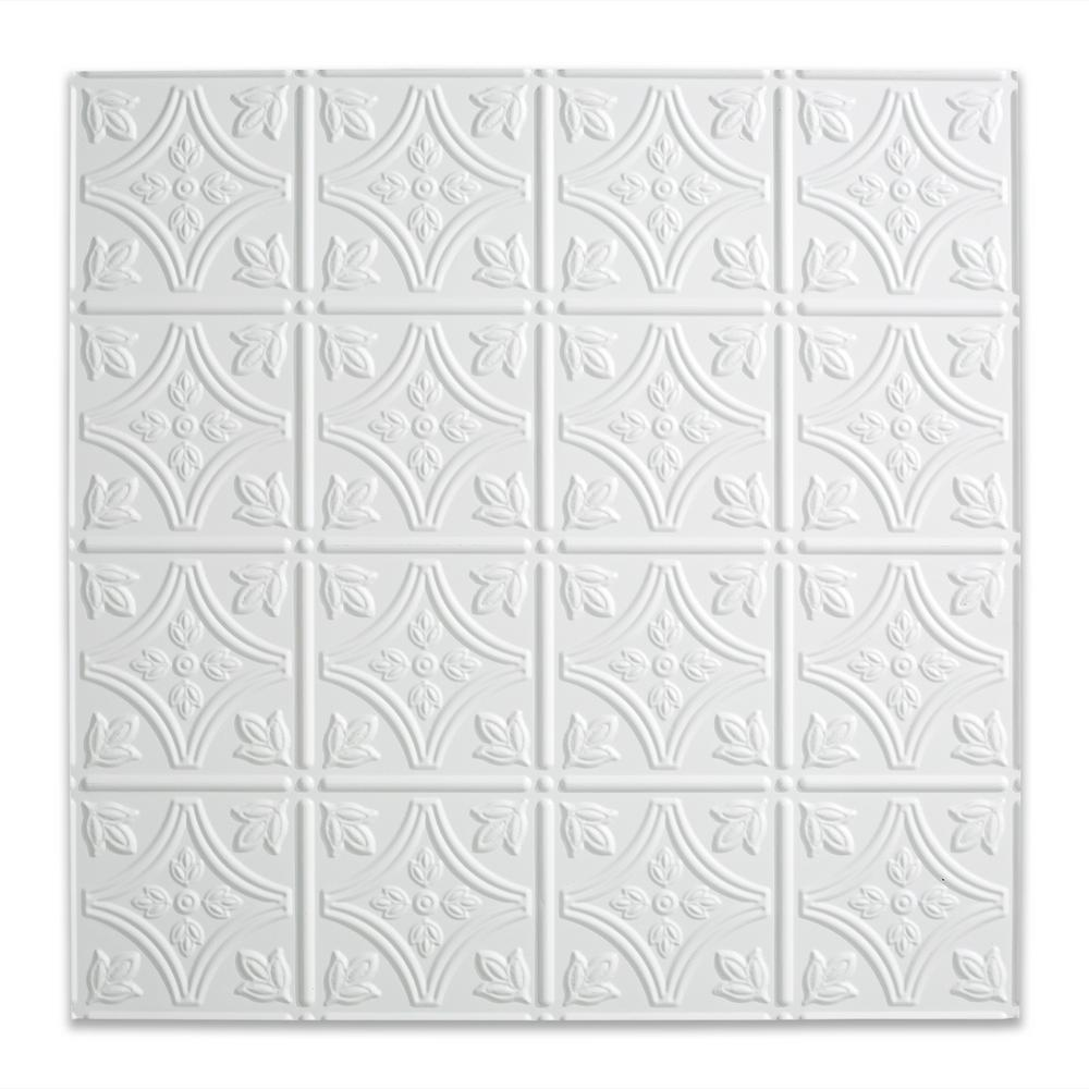 Fasade Traditional 1 Matte White 2 Ft X 2 Ft Lay In Vinyl Ceiling Tile 20 Sq Ft Pl5001 The Home Depot