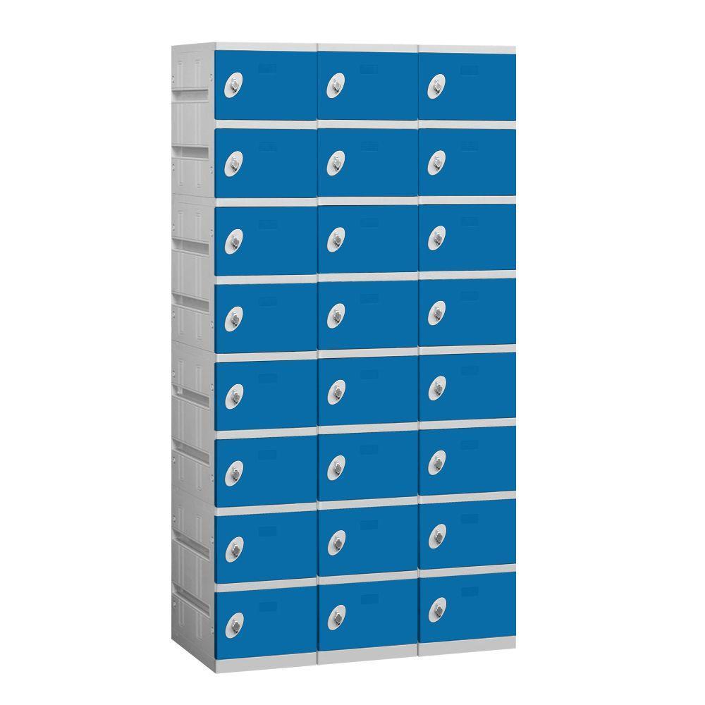 Salsbury Industries 98000 Series 38.25 in. W x 74 in. H x 18 in. D 8-Tier Plastic Lockers Assembled in Blue
