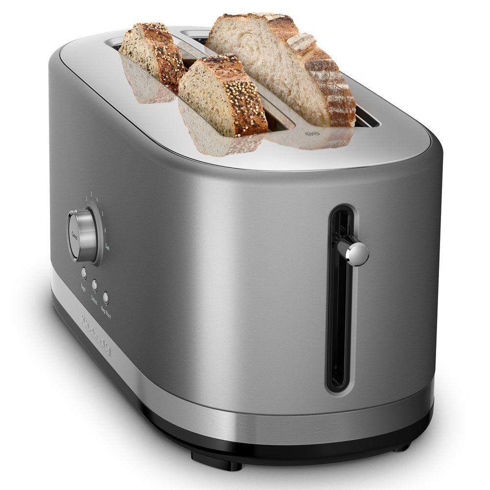 KitchenAid-4-Slice Contour Silver Long Slot Toaster with Crumb Tray