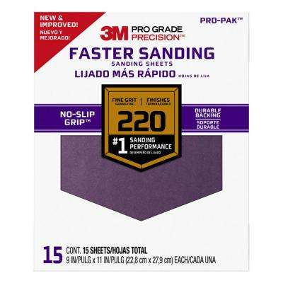 Pro Grade Precision, 9 in. x 11 in., Faster Sanding Sanding Sheets, 220 Grit, Fine (Case of 5, 15-Packs)