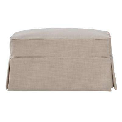 Mayfair Linen Pearl Slipcovered Ottoman