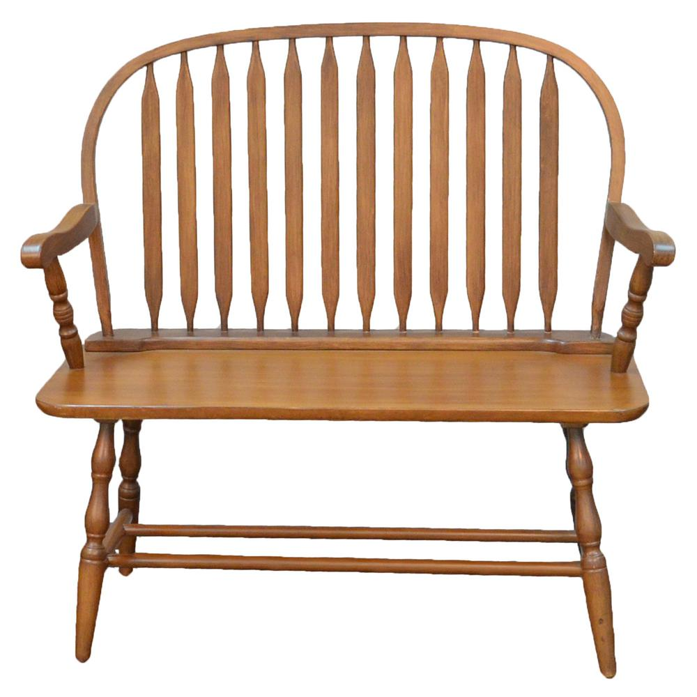 Excellent Carolina Cottage Windsor Oak Bench 42 Ao The Home Depot Bralicious Painted Fabric Chair Ideas Braliciousco