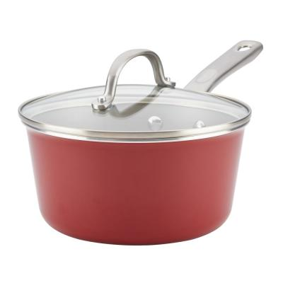 Home Collection 3 Qt. Porcelain Enamel Nonstick Covered Saucepan in Sienna Red