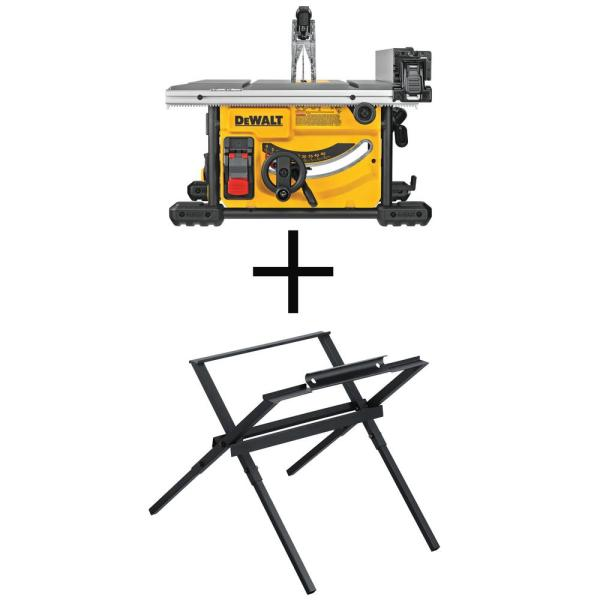 DEWALT 15 Amp Corded 8-1/4 in. Compact Jobsite Tablesaw with Bonus Compact Table Saw Stand