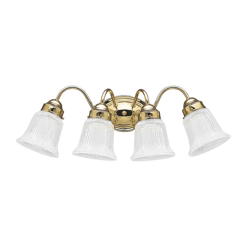 Brookchester 4-Light Polished Brass Bath Light with LED Bulbs