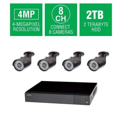 8-Channel 4MP 2TB DVR Surveillance System with (4) 4MP Bullet Cams